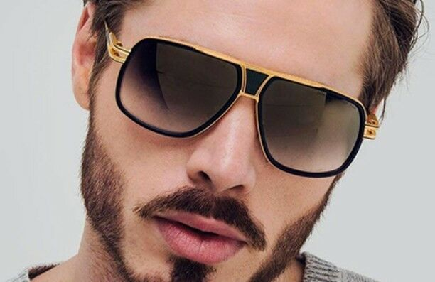 Designer Oversized Square Aviator Sunglasses Metal Bar Retro