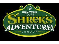 2x tickets to Shrek's Adventure London SATURDAY 28th July 28/07/2018 (RRP £58) Bargain
