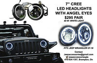 "JEEP 7"" LED BLACK PROJECTORS & ANGEL EYES HEADLIGHTS"