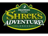 2 Shrek Adventure tickets for sale/ 14/07/2018