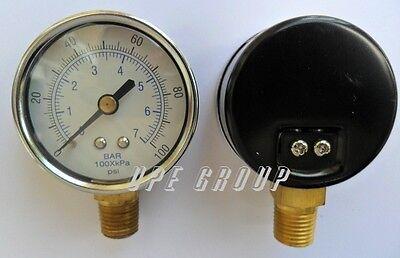 New Pressure Gauge Air Compressor Hydraulic 2.5 Face 0-100 Lower Mnt 14 Npt