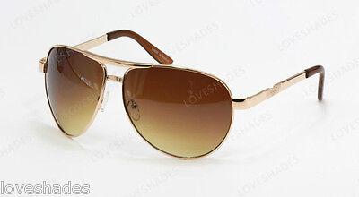 (New Classic Retro Aviator Mens Sunglasses Shades Fashion Gold Brown Metal Large)