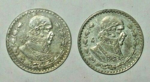 ✪ Two(2) 1957-1967 ✪ Silver Mexican Un Peso ✪ Large Silver Coins!! ✪
