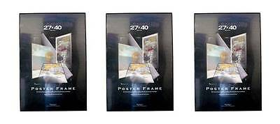 Value Pack Three 27x40 Movie Poster Frames Black Edges Assembled 27 x 40 ()