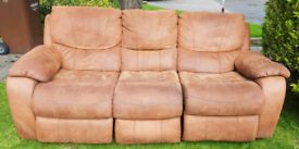Harvey's brown suede leather reclining sofa