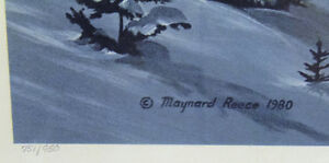 Signed, framed, numbered print 'Mountain Snow' by Maynard Reece! London Ontario image 2