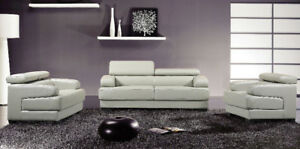 WHITE OR BLACK LEATHER SOFA SETS WITH  ADJUSTABLE  HEADRESTS