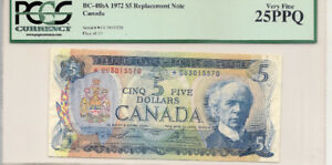 1972 $5 Bank of Canada Replacement *CU Banknote -Graded VF-25