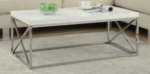MODERN COFFEE TABLE WITH CHROME LEGS