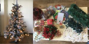 Christmas Tree and Assorted Christmas Decorations (Like New)