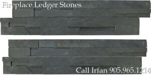 Carbon Fireplace Ledger Stones Corner Wall Facing