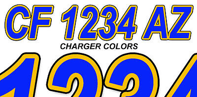 CHARGER  Custom Boat Registration Numbers Decals Vinyl Lettering Stickers USCG