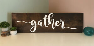 """Gather"" wooden wall sign"