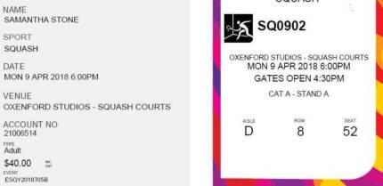 Commonwealth Games Squash Mon 9 Apr 6pm Adult