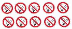 10 Stück Rauchen verboten Aufkleber - Nichtraucher - Rauchverbot - Sticker- 3 cm