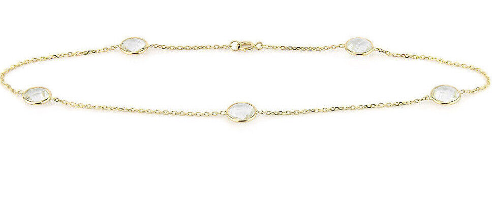 14K White Gold Anklet With Round Shape Clear Quartz Gemstones 10.5 Inches