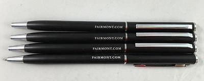 New Lot Of 4 Fairmont Hotel Twist Black Ink Ball Point Metal Pens Fairmont Com