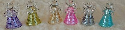 Six Beautiful Glass Bell Angel Christmas Ornaments