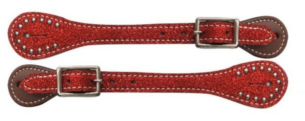 "9.5/"" Ladies Size SPUR STRAPS Showman BEADED CROSS Medium Leather Adjustable 8/"""