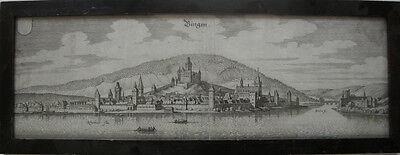 Bingen Rheinland Pfalz Orig. Kupferstich von Merian 1650 Gesamtansicht