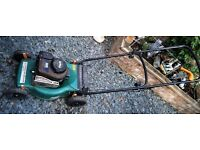 BRIGGS and STRATTON STEEL BODIED PETROL POWERED PUSH LAWNMOWER