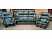 Genuine leather 3 piece recliner suite. BARGAIN!