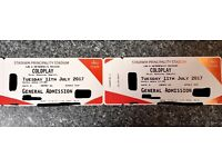 Two Coldplay Tickets Tuesday 11th July 2017 Cardiff Principality Stadium