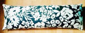 Black & White New Bold Flowers Pattern Oblong Long Bolster Cushion Cover-90cmx30cm.
