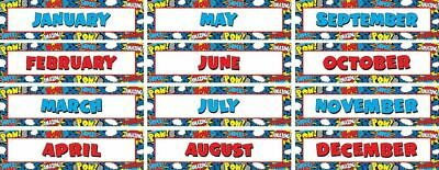 TCR 5590 Superhero Months of the Year Calendar Headers Classroom Decorations - Classroom Calendar