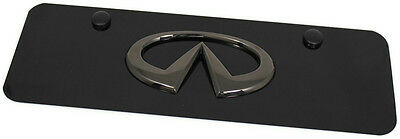 Black Pearl Infiniti Emblem Logo Front License Plate Frame Black Mini Small