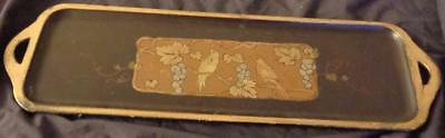 Antique Wooden Hand Painted Decorative Tray - GORGEOUS PAINTED DESIGN -VGC Japan