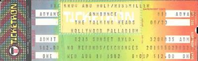 TALKING HEADS Unused CONCERT TICKET Hollywood Palladium 1982