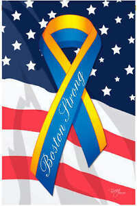 BOSTON STRONG Inspirational SUPPORT Message PATRIOTIC Breeze Decor Garden Flag