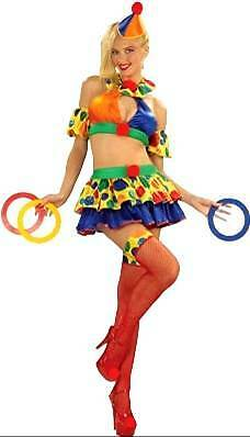 Cute Clown Halloween Costumes (Circus Sweetie Clown Polka Dot Yellow Cute Dress Up Halloween Sexy Adult)