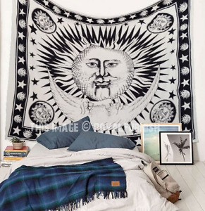 Black and White Sun Moon Star Tapestry