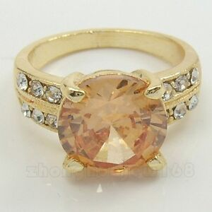 LADY'S CHAMPAGNE SAPPHIRE 10KT REAL YELLOW GOLD FILLED RING
