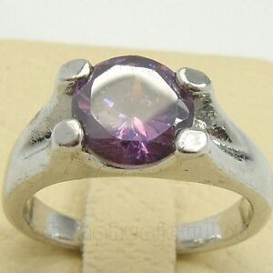 RARE SIZE:7 LADY'S PURPLE SAPPHIRE 10KT  WHITE GOLD FIllED RING