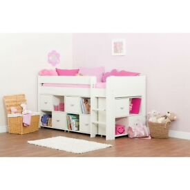 Child's mid sleeper bed with cupboard units
