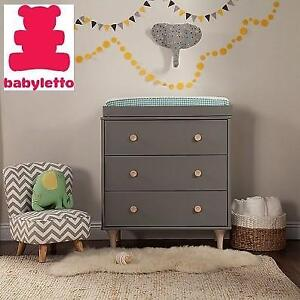 NEW BABYLETTO DRESSER/CHANGER M9023GNX 158282867 REMOVABLE CHANGING TRAY GREY 3-DRAWER