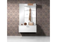 Wall Mounted White Hallway Stand/Shoe Storage Cabinet
