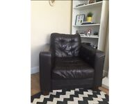 Vintage Retro Brown Leather Armchair - Living Room Chair Furniture - 60s, 70s