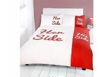 Duvet Set With Two Pillowcases His & Her Collection King Size Brand New