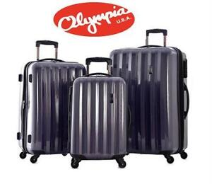 NEW OLYMPIA TITAN 3PC SPINNER SET PURPLE SUITCASE LUGGAGE BAG TRAVEL GEAR
