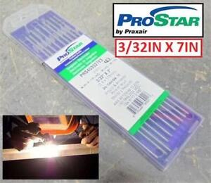 """NEW 10PC PRAXAIR PROSTAR ELECTRODES PRS403327E3 212974200 3/32""""x7"""" TIG WELDING TUNGSTEN    ONE PACK (10PC)"""