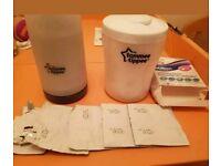 Portable bottle warmer and steriliser with sterilizing tablets