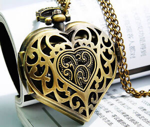 Vintage Steampunk HEART Harry Potter Locket Style Pendant Pocket Watch Necklace