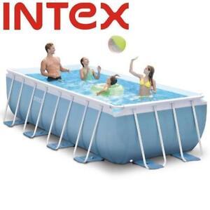 NEW* INTEX RECTANGULAR POOL SET - 130489615 - 16ft x 8ft x 42in Prism Frame™ Rectangular Above Ground