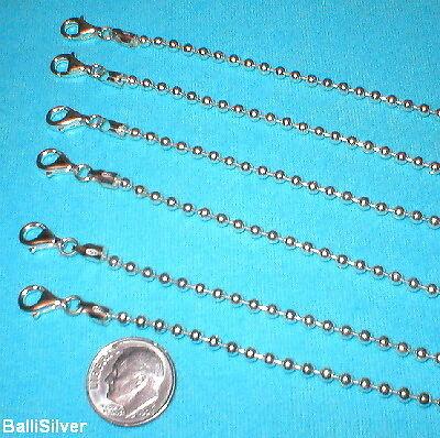 6 Sterling Silver 925 3mm BALL BRACELETS Wholesale Lot