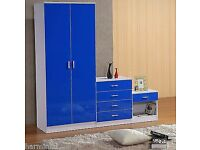 Blue High Gloss 3 Pieve Bedroom Furniture Set