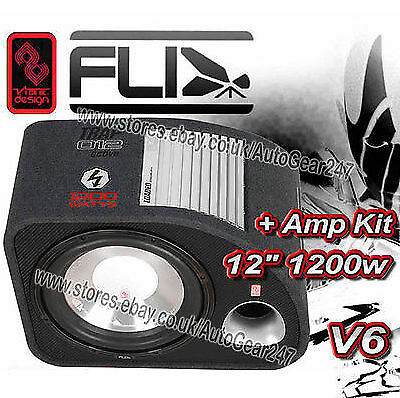 FT12A-F6 FLI Trap 12 Active Amplified Subwoofer Sub Bass Box Enclosure + Amp Kit